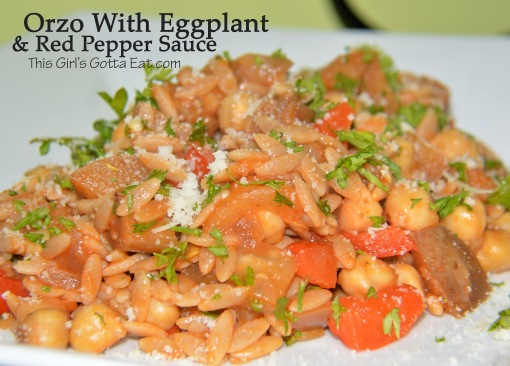 Orzo With Eggplant and Red Pepper Sauce
