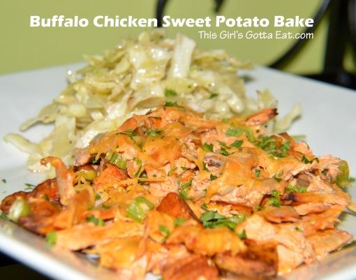 Buffalo Chicken Sweet Potato Bake