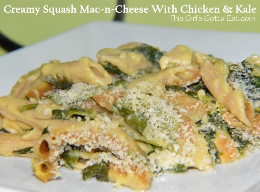 Creamy Squash Mac-n-Cheese With Chicken and Kale