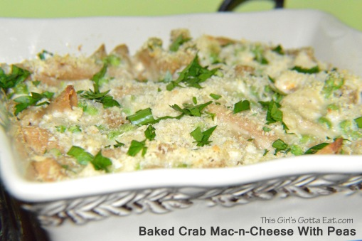 Baked Crab Mac-n-Cheese With Peas