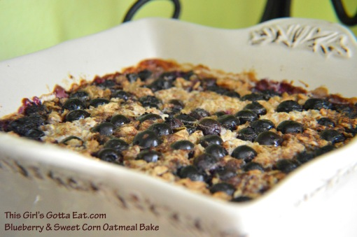 Blueberry and Sweet Corn Oatmeal Bake