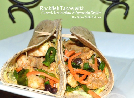 Rockfish Tacos with Carrot-Bean Slaw and Avocado-Sour Cream