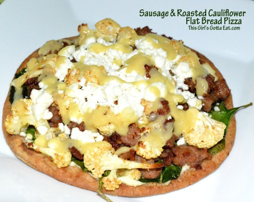Sausage and Roasted Cauliflower Flat Bread Pizza