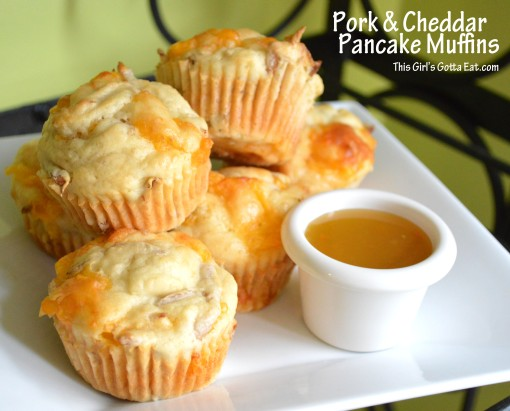 Pork and Cheddar Pancake Muffins