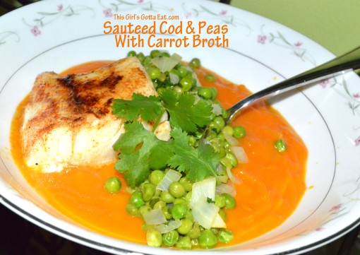 Sauteed Cod and Peas With Carrot Broth